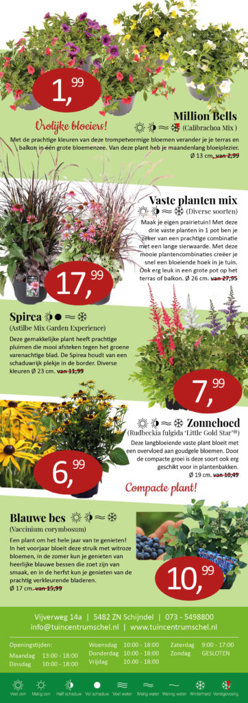 Zomer aanbiedingen planten tuincentrum schel